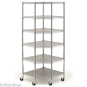 Brand New Heavy Duty Wire Steel 6 tier Corner Shelf Garage Storage Shelving Rack