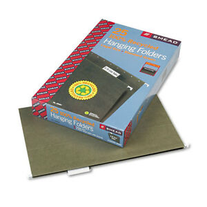 Smead Recycled Hanging File Folders 1 5 Tab 11 Point Legal Green 25 box 65061