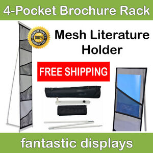 4 pocket Literature Rack And Brochure Holder For Trade Show Booths