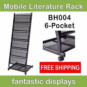 6 pocket Mobile Literature Display Rack And Magazine Shelf On Rolling Casters