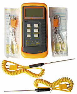 Dual Channel K type Digital Thermocouple Thermometer 6802 Ii 4x Probes Bga hvac
