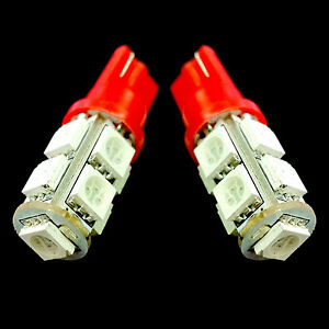 2x Super Red 9 Led Lights 5050 Smd Xenon Hid T10 T15 R1