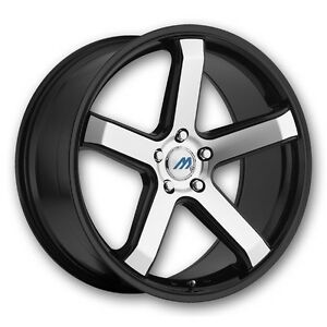 18 Inch 2crave Mach M5 Black Mach Wheel Rims Tires Fit 5x114 3