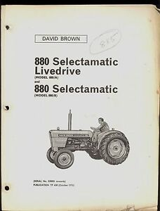 1970 David Brown Parts Catalog 880 Selectamatic Livedrive Tractor