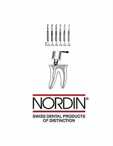 Long Nordin Assorted 6 Square Reamers L1 l6 32mm Dental Square Screw Posts