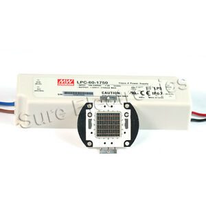 50w Blue High Power Led Light Lamp Panel Mean Well Ac dc Led Driver Lpc 60 1750