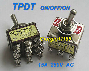 5pcs Tpdt On off on Industrial Toggle Switches 303 Triple Pole Double Throw
