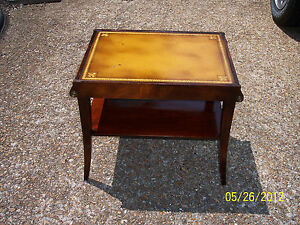 Antique Stickley Of Grand Rapids End Table Mahagony W Leather Top Empire Styl