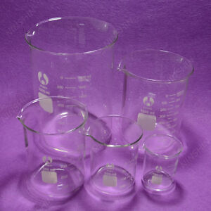 Glass Beakers 100ml 250ml 500ml 1000ml 2000ml Each One lab Glassware Set