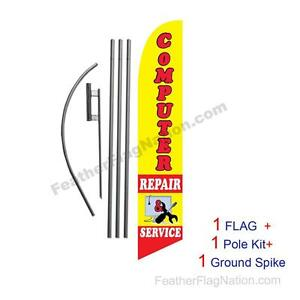 Computer Repair Feather Banner Swooper Flag Kit With Pole spike