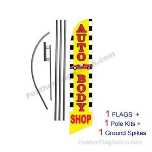 Auto Body Shop 15 Feather Banner Swooper Flag Kit With Pole spike