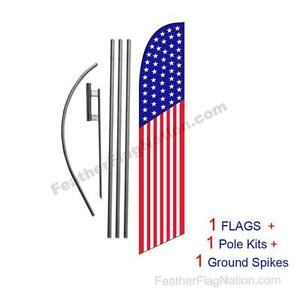 American Flag 50 Stars 15 Usa Feather Banner Swooper Flag Kit With Pole spike
