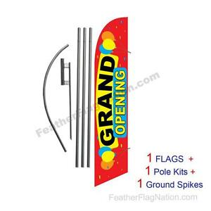 Grand Opening Balloons 15 Feather Banner Swooper Flag Kit With Pole spike