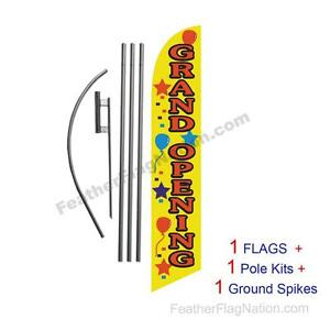 Grand Opening yellow 15 Feather Banner Swooper Flag Kit With Pole spike