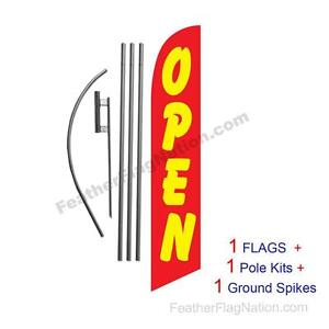 Open red Yellow 15 Feather Banner Swooper Flag Kit With Pole spike
