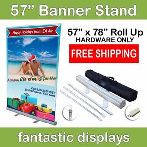 57 Retractable Roll Up Banner Stand Holds 34 To 78 Tall Banners