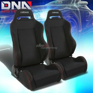 X2 Nrg Type R Black Stitch Fully Reclinable Sports Deep Racing Seat Seats Slider