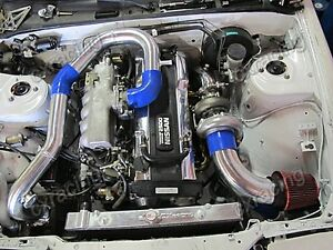 Single T70 Turbo Downpipe Manifold Kit For 240sx S13 S14 Rb20 Rb25 500hp Blue