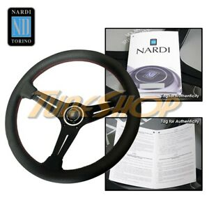 Italy Nardi Rally Deep Corn 350mm Steering Wheel Black Perforated Leather Red b