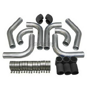 2 75 Od Universal Aluminum Turbo Intercooler Piping Kit 2mm Thick Black Hose
