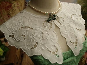 Victorian Hand Embroidered Lace Collar Dress White Linen Vtg Necklace Rose Ii