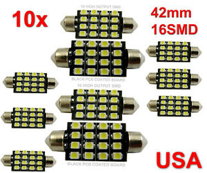 10 42mm Car Interior 16 Smd White Led Light 3528 Dome Lamp Bulb 211 2 578 212 2