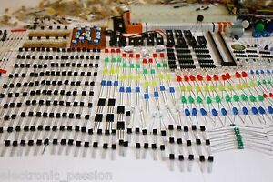Approx 2000 Pcs Electronic Components Led Transistors Capacitors Breadboard Lot
