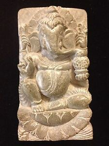Antique Vintage Carved Stone Ganesh