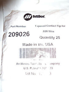 25 Pcs Miller Fastip 035 Contact Tips 209026 New