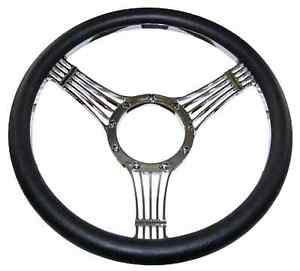 Billet Steering Wheel Chromed 14 Banjo Style With Black Leather Grip