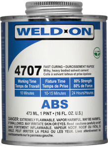 Ips Weld on 4707 Abs Plastic Solvent Cement Glue Pint 16 Oz