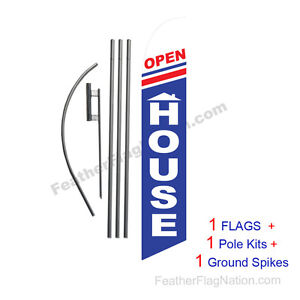 Open House rwb 15 Feather Banner Swooper Flag Kit With Pole spike