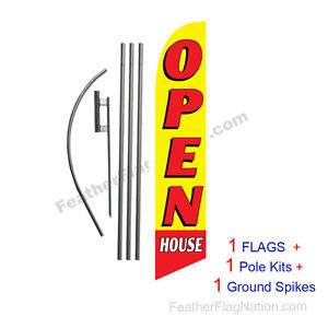 Open House yellow 15 Feather Banner Swooper Flag Kit With Pole