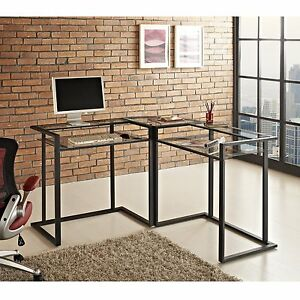 Walker Edison C frame Glass Metal L shaped Corner Computer Desk Clear Black