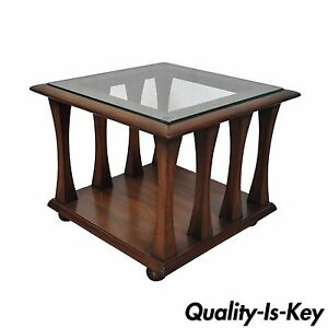 Vintage Mid Century Modern Sculpted Square Walnut Glass Side End Table Kagan Sty