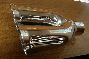 Lot Of 2 Chrome Exhaust Tips Twin Angle Flare 2 3 8 X 10 S o 2