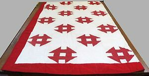 Antique Red White Geometric Symbol Quilt Blanket Coverlet Throw 62 X60