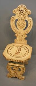 Antique Ornate Carved Solid Oak Mythical Face Chair Painted Ivory 41 X16 X19