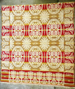 Antique 1860 Red Gold Tan Ivory Fringed Woven Jacquard Coverlet By D Cosley