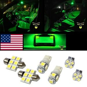 6 Green Led Interior Lights Package T10 31mm Map Dome License Plate Lamp G1g