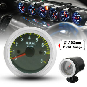 2 52mm 0 8000rpm Carbon Fiber Face Yellow Led Tacho Gauge Tachometer Holder Cup