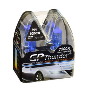 Gp Thunder Ii 7500k H4 9003 Xenon Halogen Headlight Bulbs Pair 55w 60w