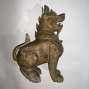 Antique Hand Carved Hardwood Japanese Or Chinese Foo Dog Temple Dog Lion Statue