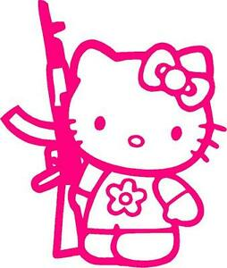 Pink Vinyl Decal Hello Kitty Ak47 Ar15 Truck Gun Fun Girl Country Sticker