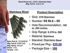 3 16 Stainless Steel Pop Rivet