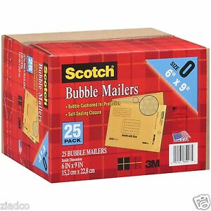 New 25 Pack Size 0 3m Scotch Bubble Mailers 6 X 9 Padded Mailing Envelopes