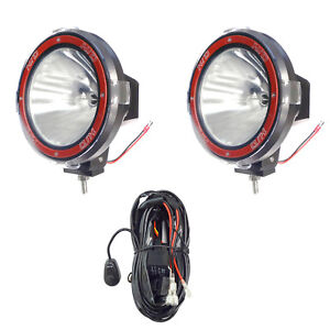 Pair 7 Inches 4x4 Off Road 6000k 55w Xenon Hid Fog Lamp Light Spot 2pcs relay