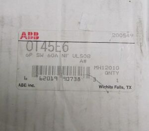 Abb Disconnect Switch Ot45e6 6p Sw 60a Nf Ul508