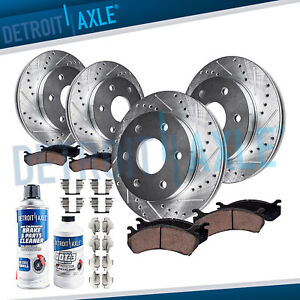 Front Rear Ceramic Drilled Slotted Brake Pads And Rotors Chevy Silverado Tahoe