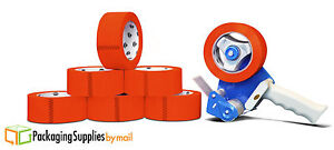 12 Rolls Red 2 X 110 Yds Carton Sealing Packing Tape 2 Mil Free 2 Tape Gun